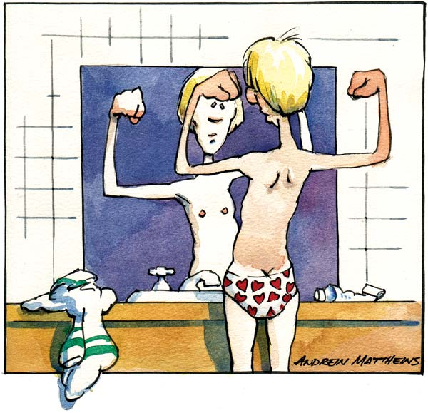 Teen in front of mirror cartoon